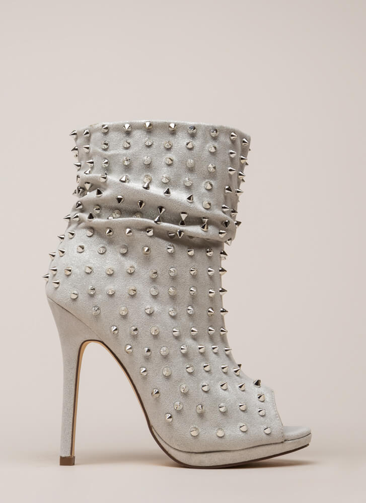 Spike A Pose Metallic Studded Booties SILVER