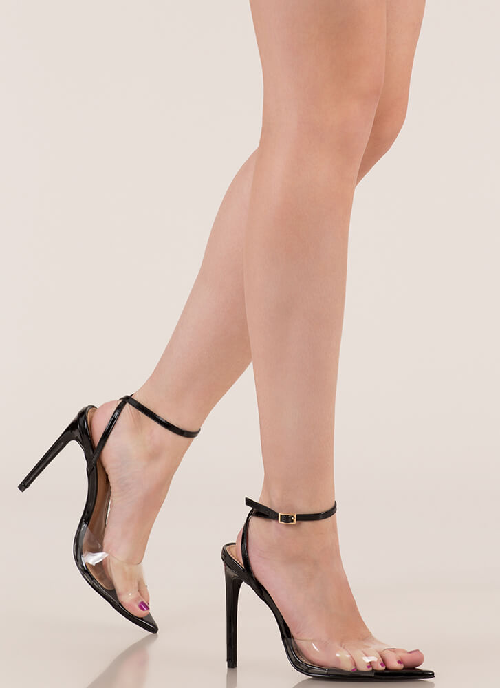 Clear Point Faux Patent Peep-Toe Heels BLACK