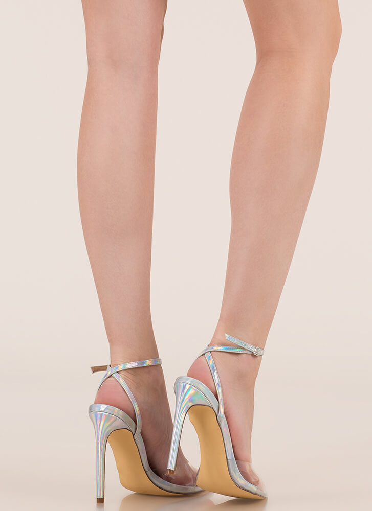 Clear Point Holographic Peep-Toe Heels HOLOGRAM
