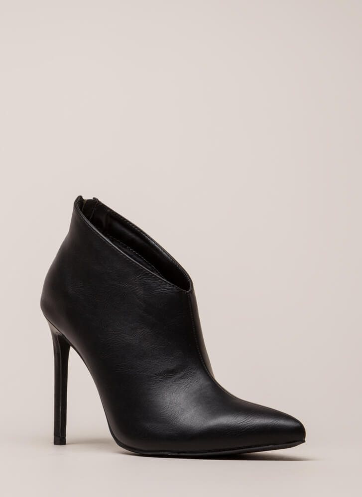 Perfect Angle Pointy Stiletto Booties BLACK