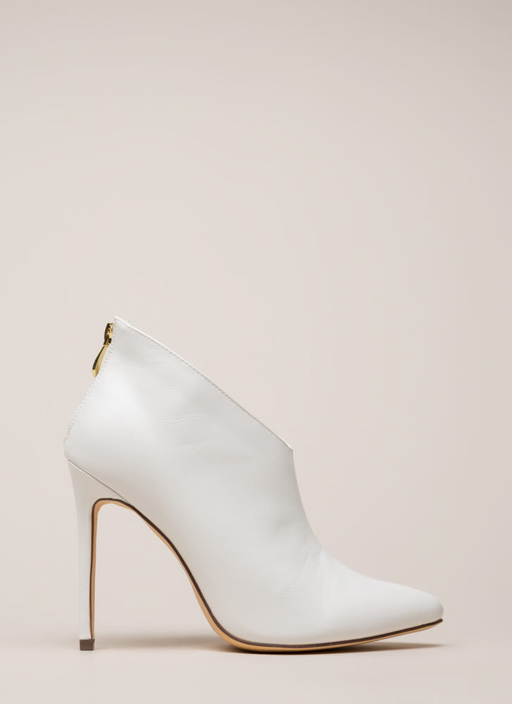 Perfect Angle Pointy Stiletto Booties WHITE