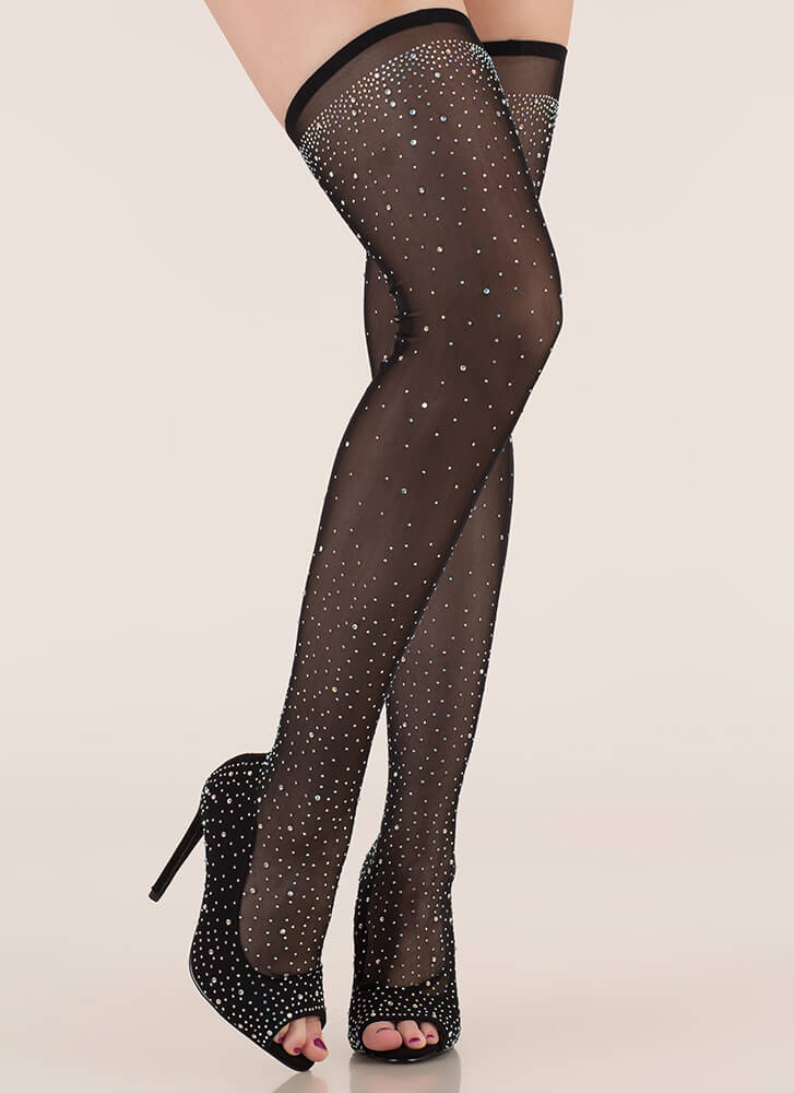 Stocking Up Sparkly Peep-Toe Heels BLACK