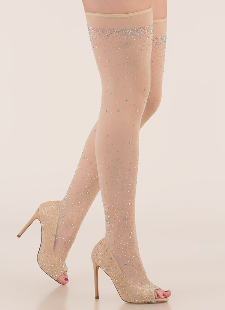Stocking Up Sparkly Peep-Toe Heels NUDE