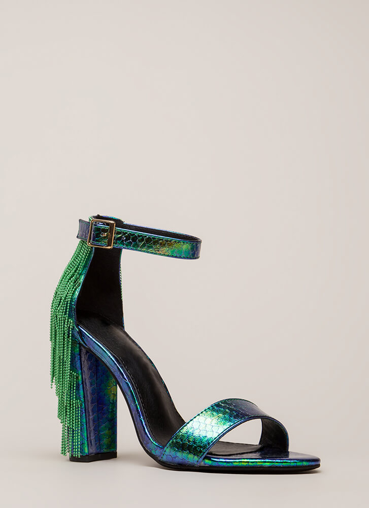 Go Gatsby Holographic Chain Fringe Heels GREEN (Final Sale)