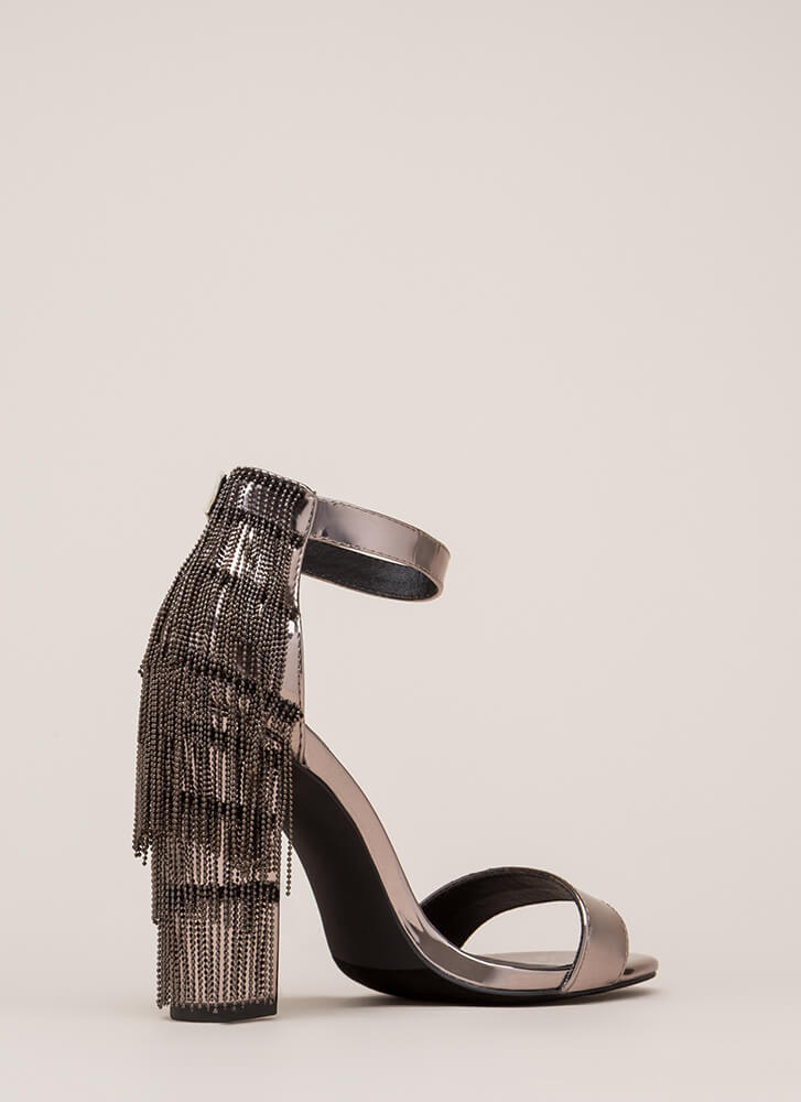Go Gatsby Faux Patent Chain Fringe Heels PEWTER
