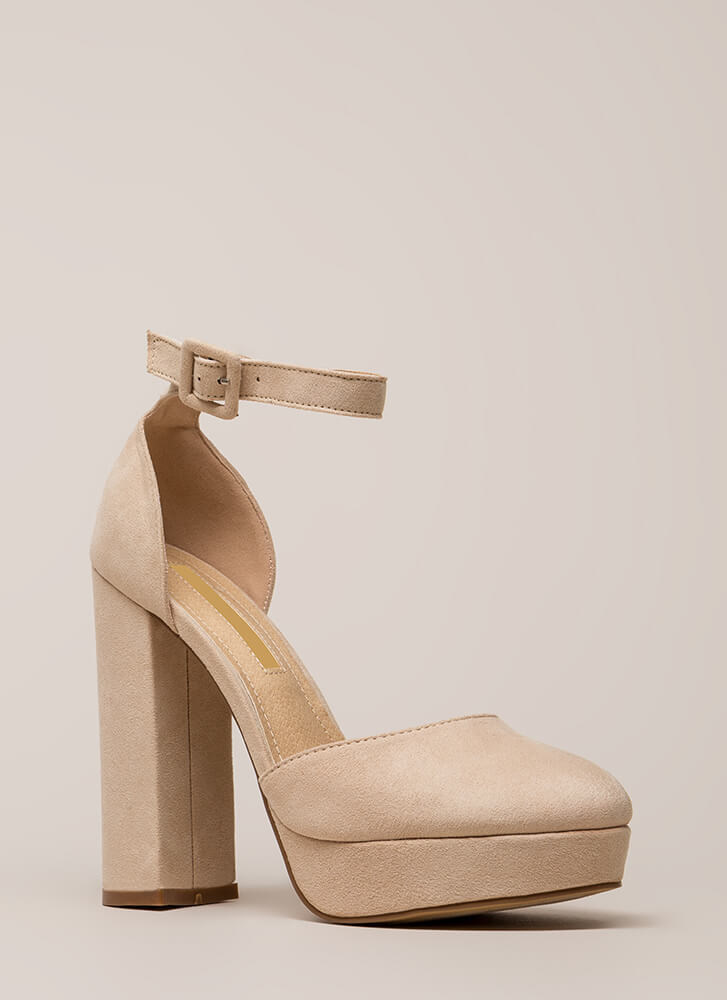 Keep It Chunky Ankle Strap Platforms NUDE (Final Sale)