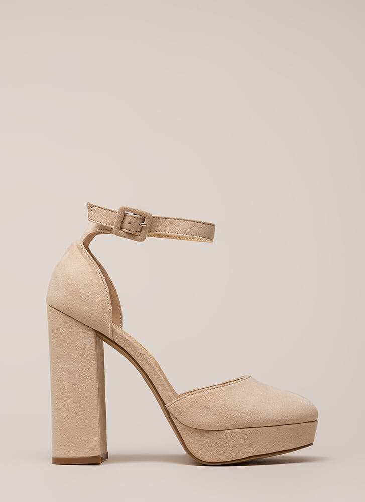 Keep It Chunky Ankle Strap Platforms NUDE
