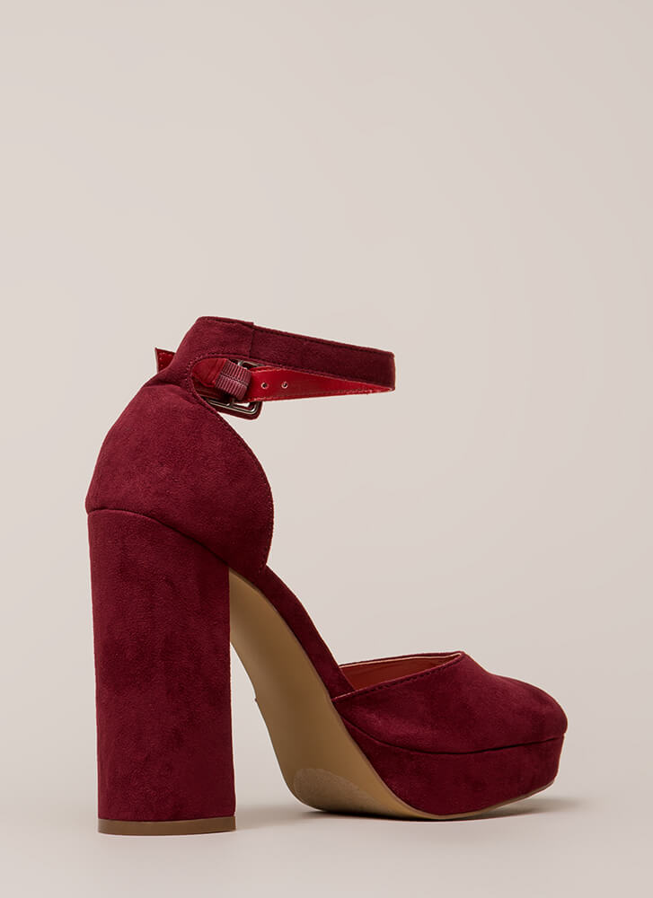 Keep It Chunky Ankle Strap Platforms WINE