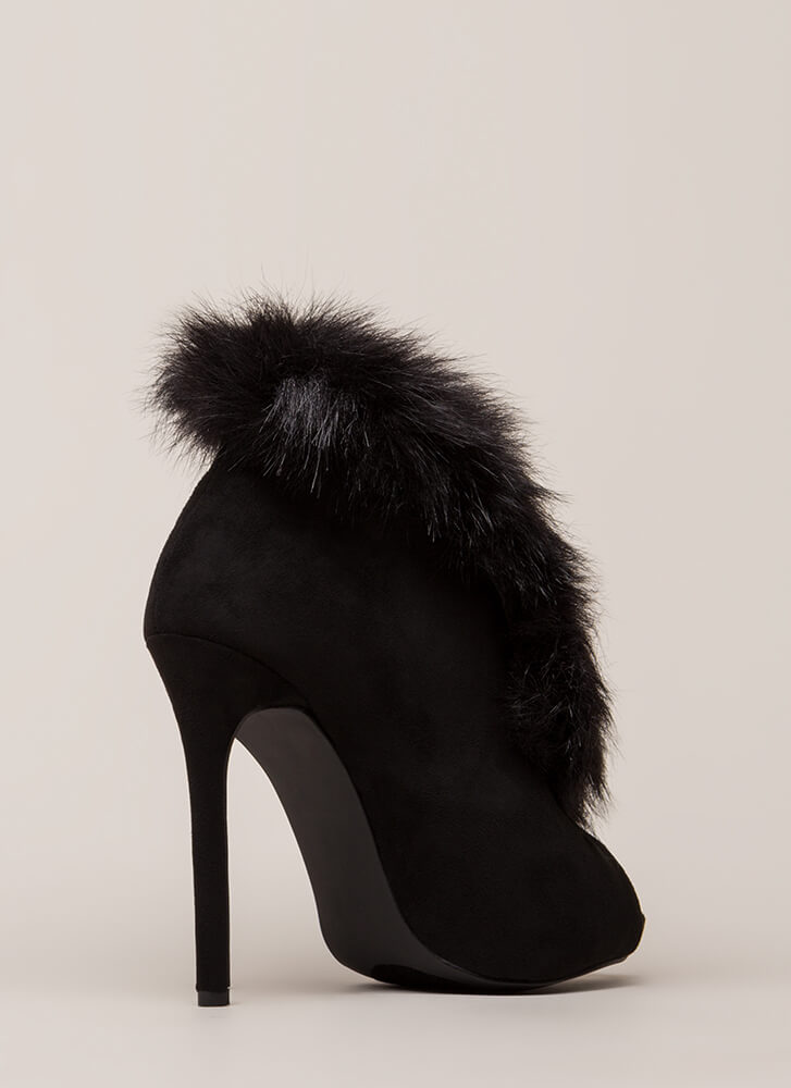 Furry Up And Wait Peep-Toe Booties BLACK