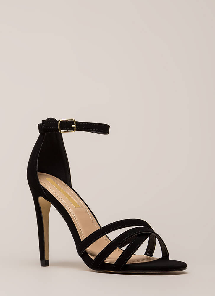 Strappy-Go-Lucky Ankle Strap Heels BLACK