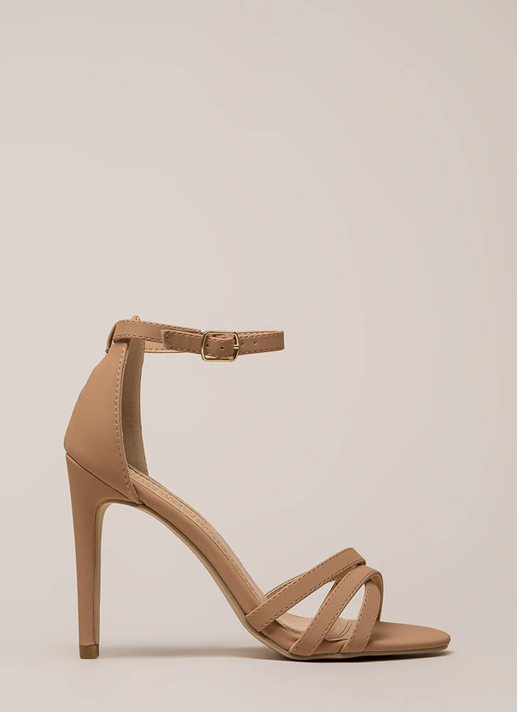 Strappy-Go-Lucky Ankle Strap Heels NUDE