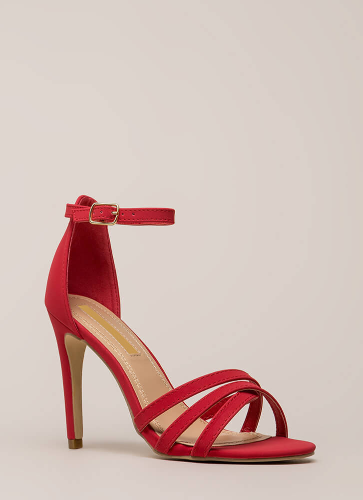 Strappy-Go-Lucky Ankle Strap Heels RED