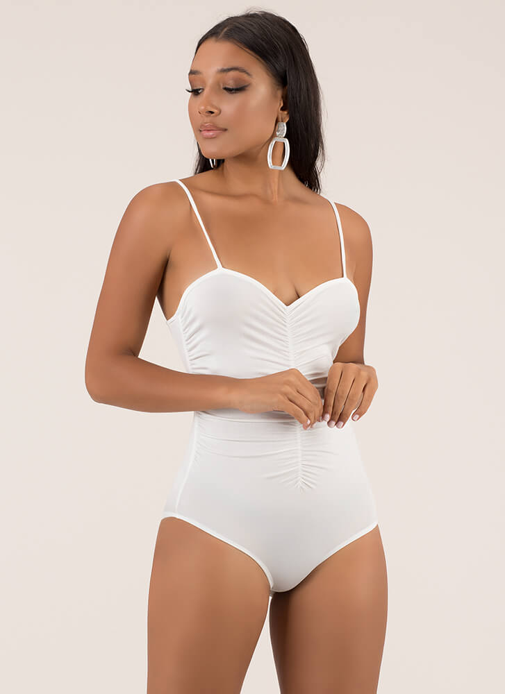 Such A Sweetheart Ruched Bodysuit WHITE