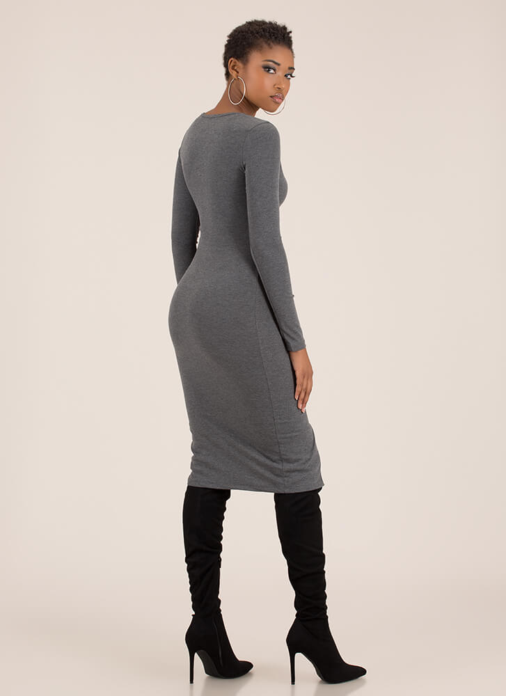 Snap Happy Button-Front Midi Dress CHARCOAL (You Saved $11)