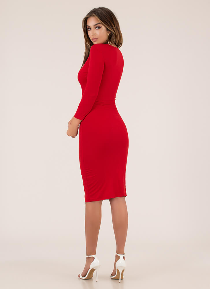 Snap Happy Button-Front Midi Dress RED (You Saved $11)