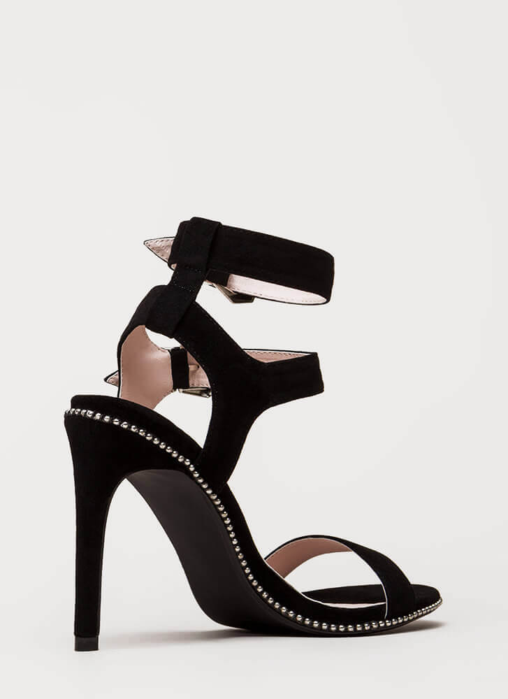 Something Studded Strappy Buckled Heels BLACK