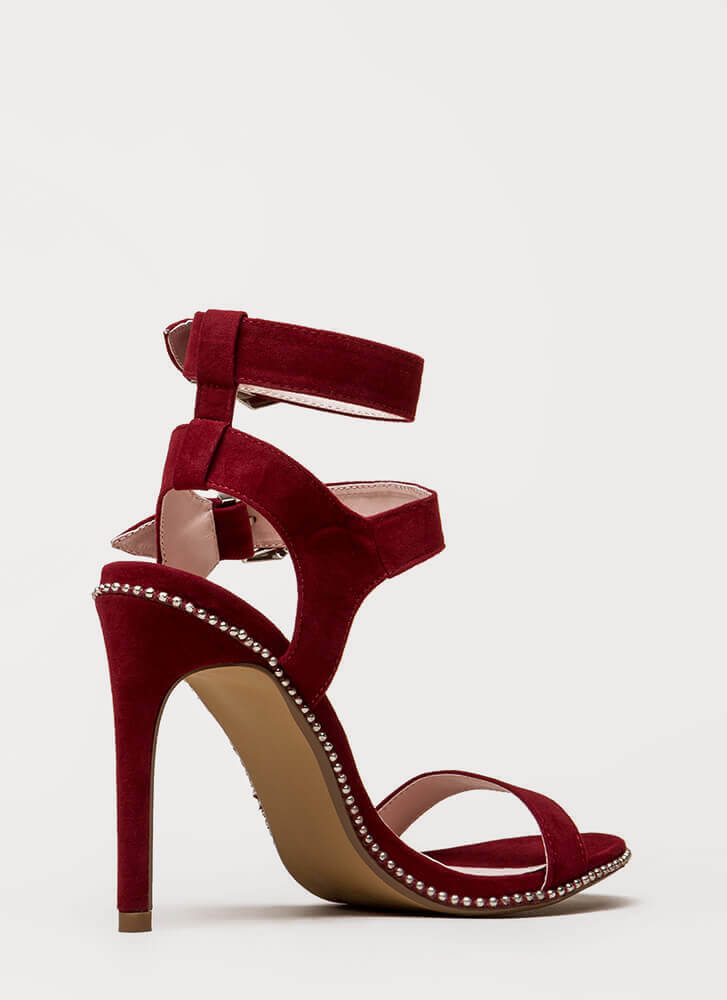 Something Studded Strappy Buckled Heels WINE