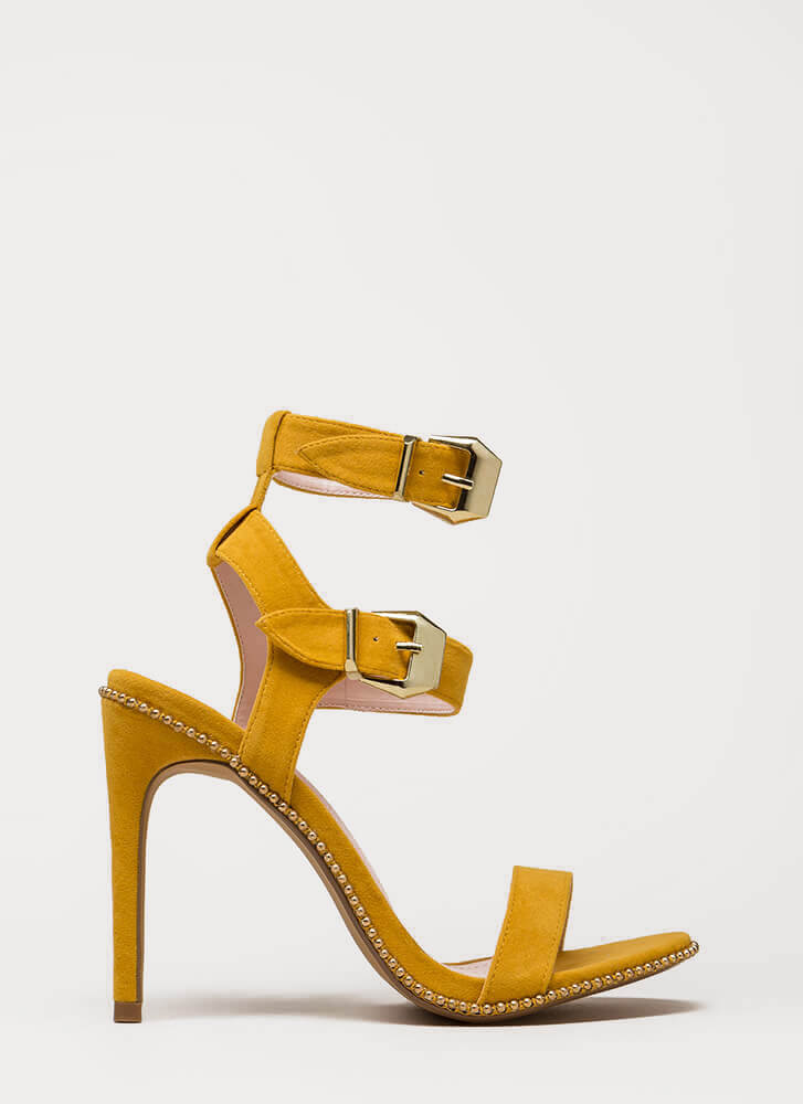 Something Studded Strappy Buckled Heels YELLOW