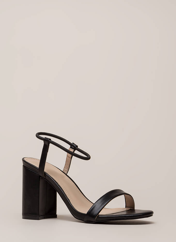 It's Go Time Chunky Strappy Heels BLACK