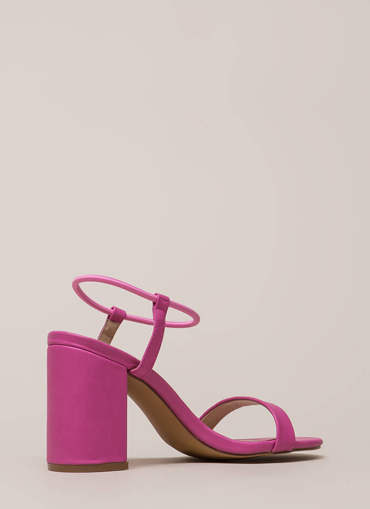 It's Go Time Chunky Strappy Heels FUCHSIA
