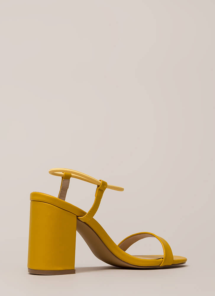 It's Go Time Chunky Strappy Heels MUSTARD