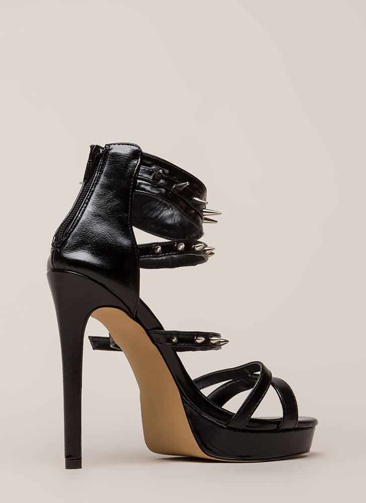 Lookin' Sharp Strappy Spiky Platforms BLACK
