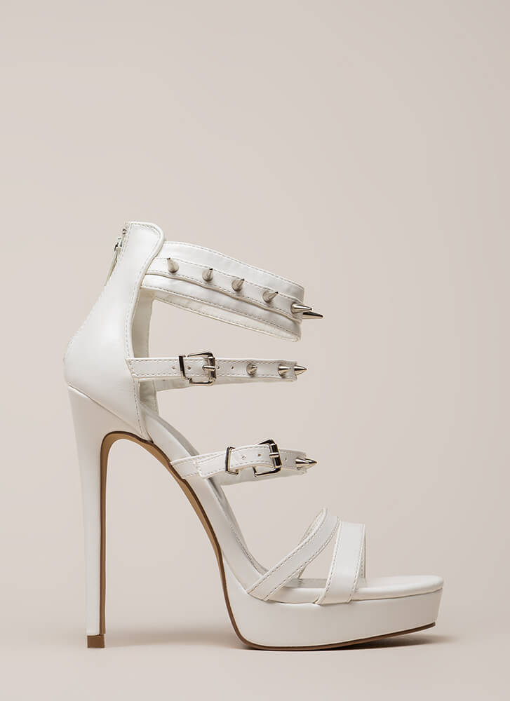 Lookin' Sharp Strappy Spiky Platforms WHITE