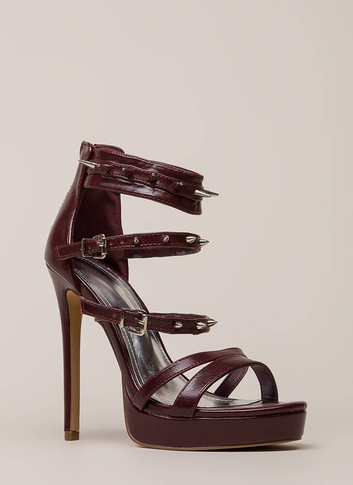 Lookin' Sharp Strappy Spiky Platforms WINE