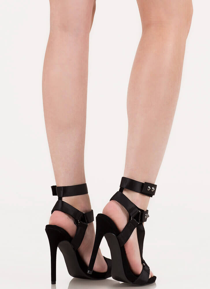 Harnessed In Studded Satin Strap Heels BLACK