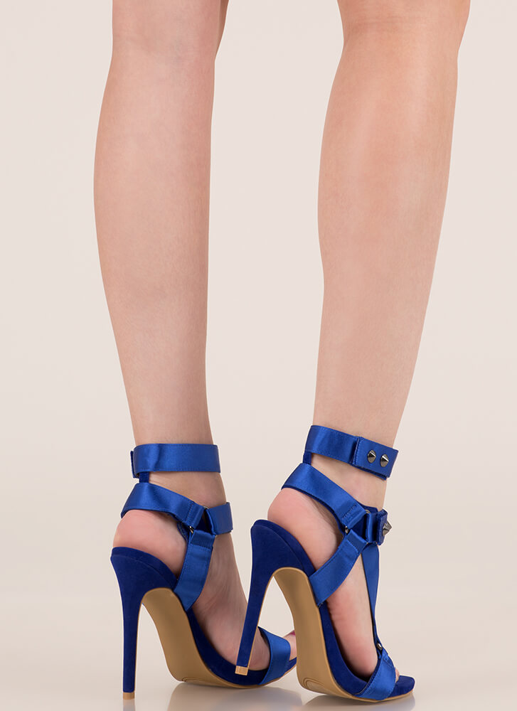 Harnessed In Studded Satin Strap Heels BLUE