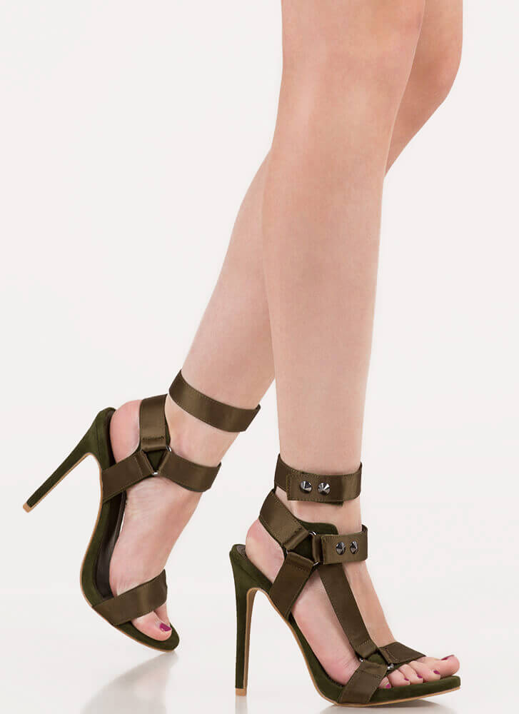 Harnessed In Studded Satin Strap Heels OLIVE