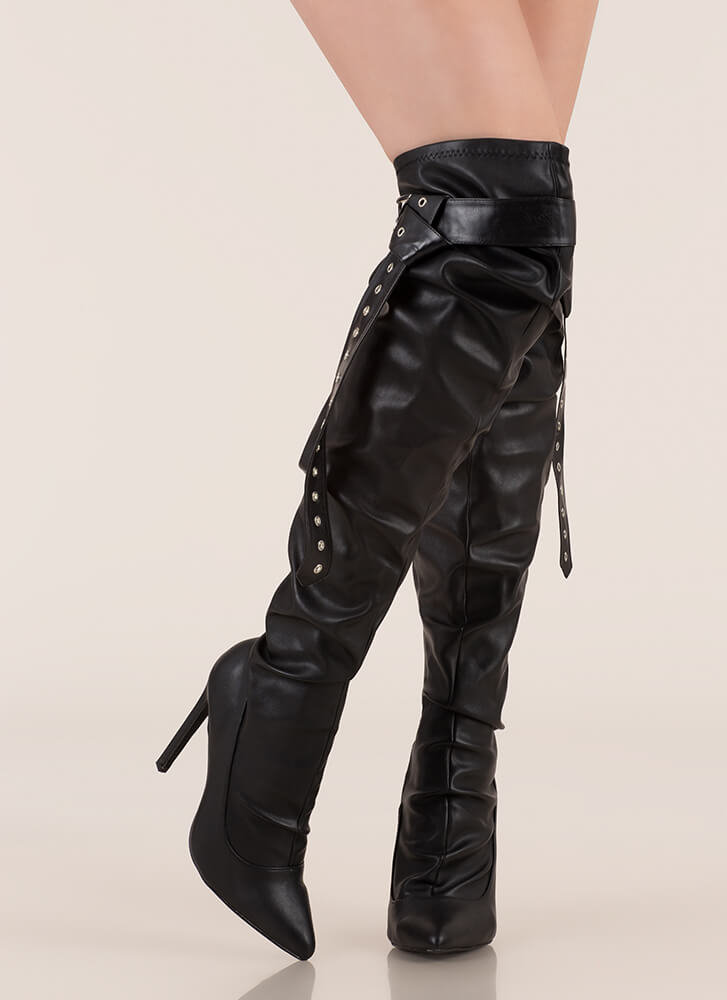 Get The Strap Slouchy Thigh-High Boots BLACK