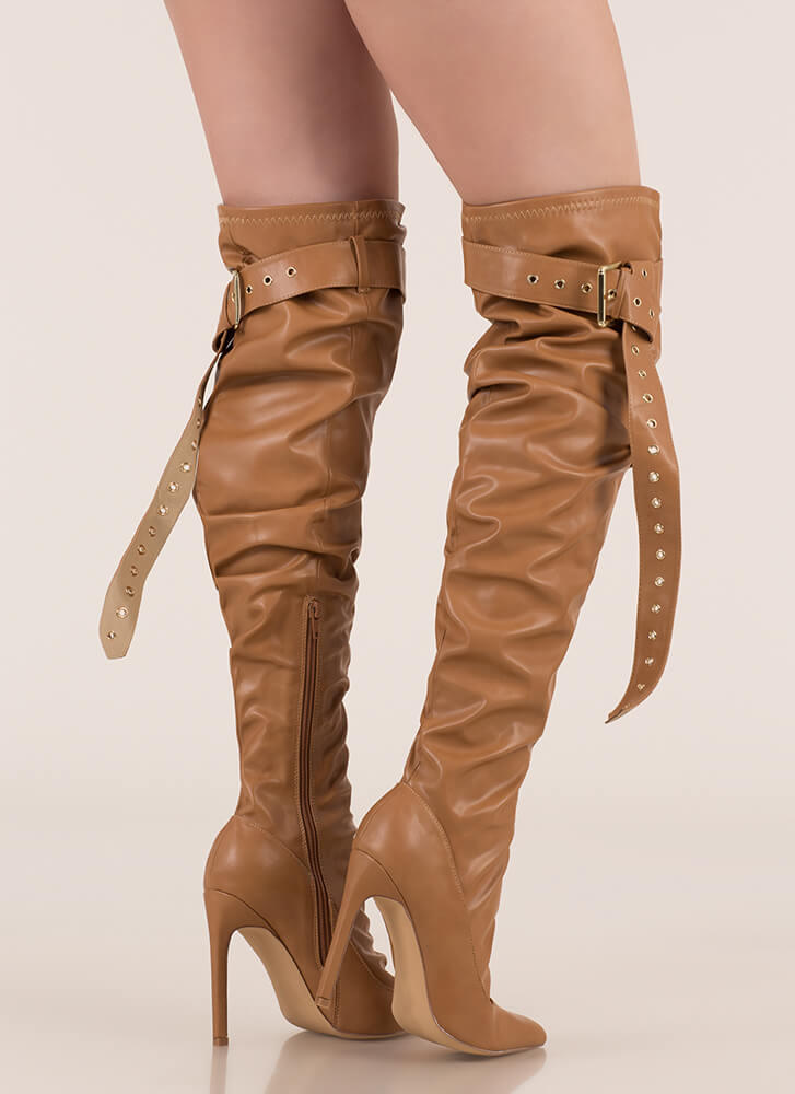 Get The Strap Slouchy Thigh-High Boots CAMEL