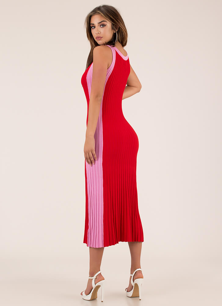 Yes Pleats Ribbed Colorblock Dress RED