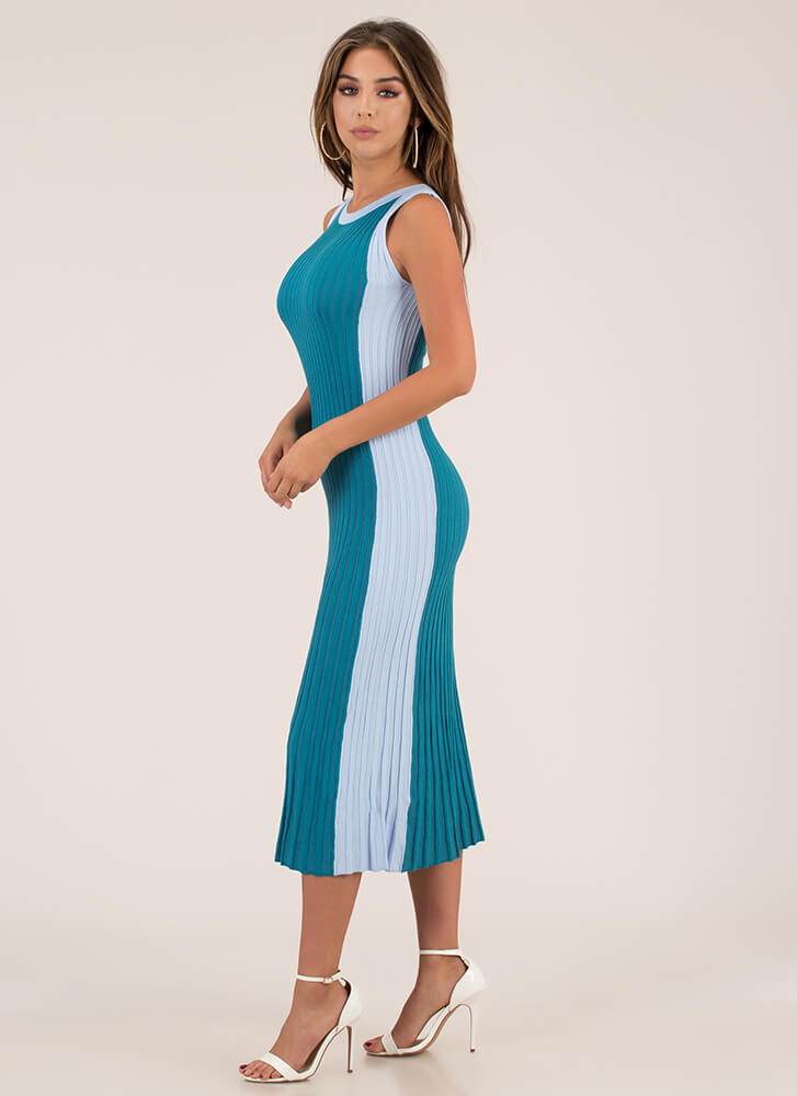 Yes Pleats Ribbed Colorblock Dress TEAL