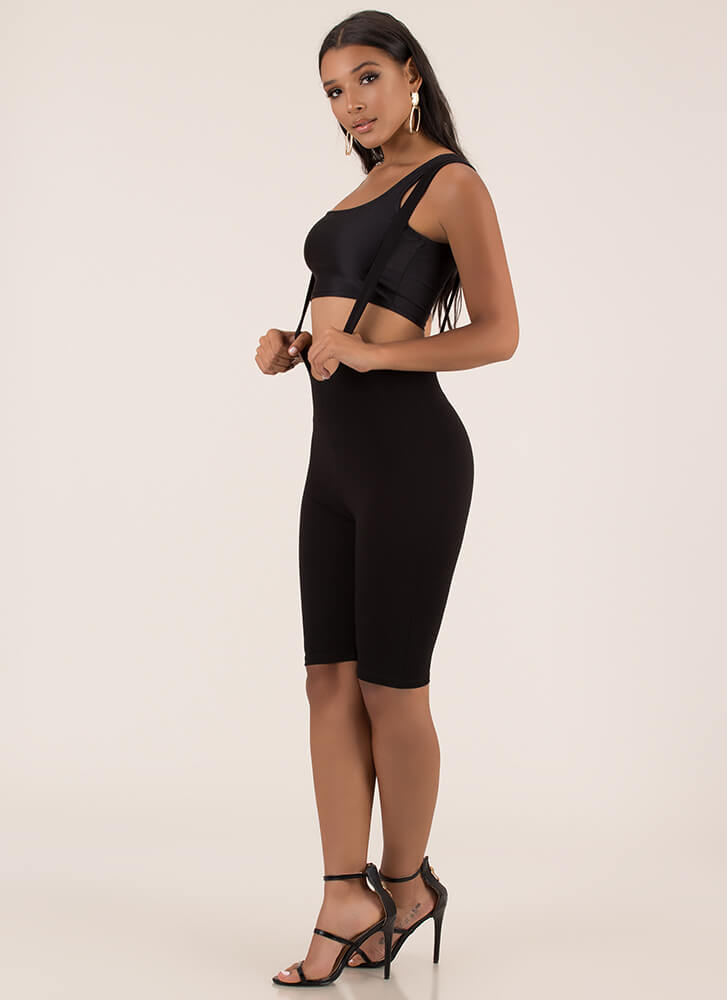 Over And Out Suspender Strap Romper BLACK (You Saved $16)