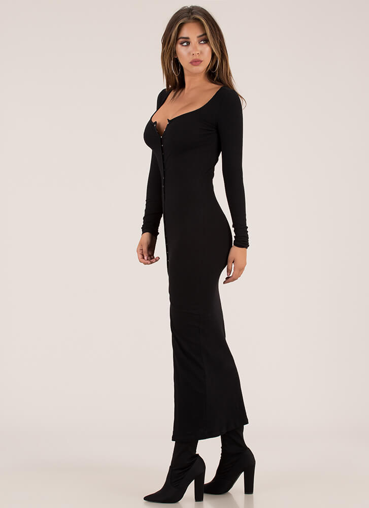 In The Mood Snap Button Maxi Dress BLACK