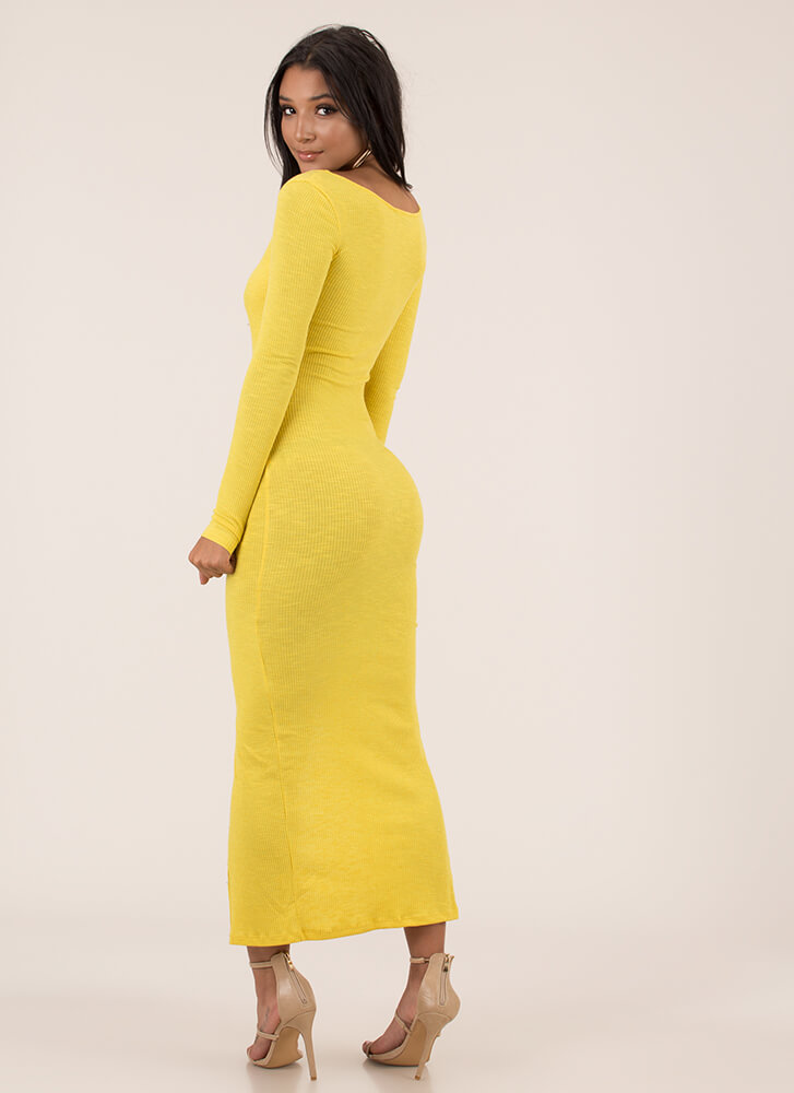 In The Mood Snap Button Maxi Dress MUSTARD
