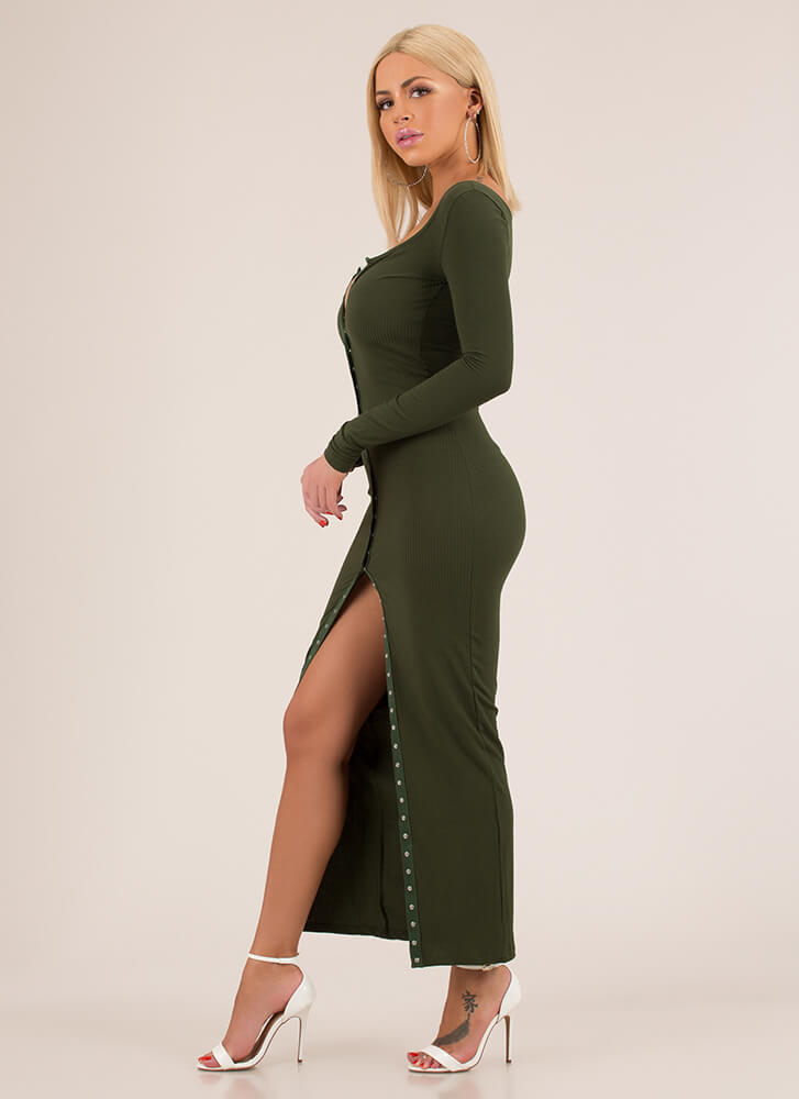 In The Mood Snap Button Maxi Dress OLIVE