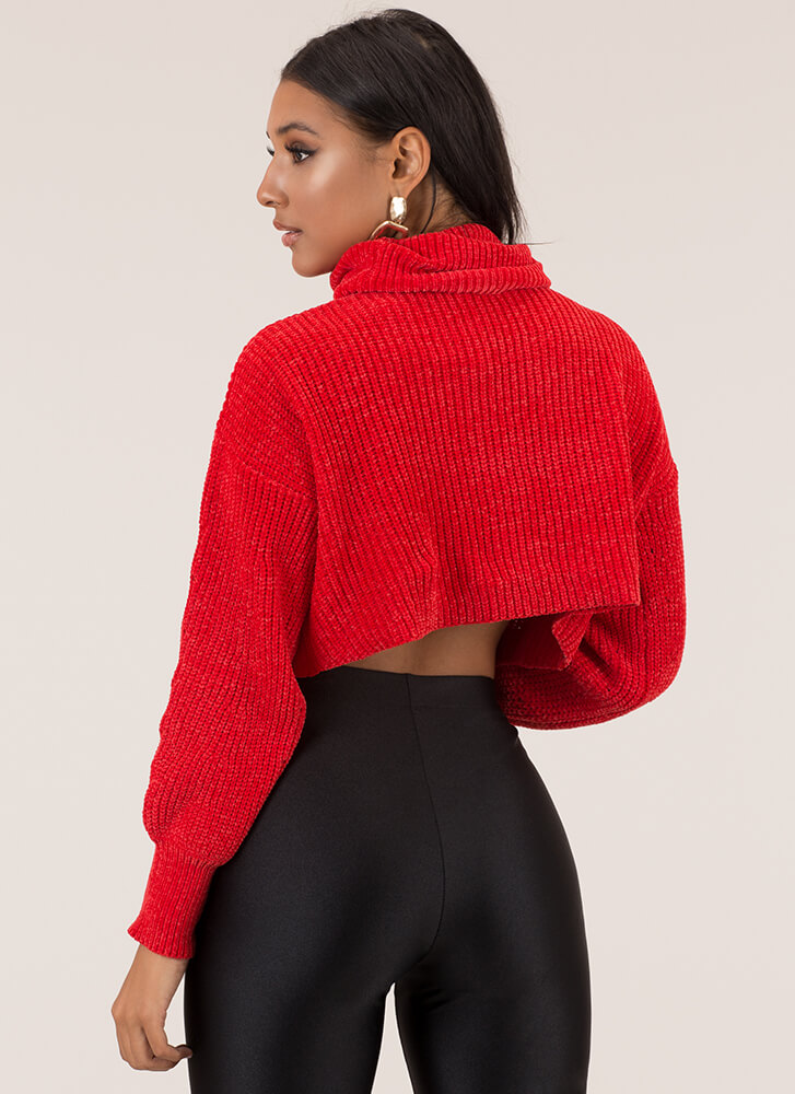 Hot And Cold Cropped Knit Sweater RED (You Saved $24)