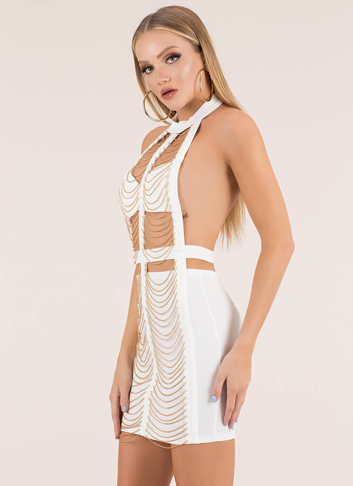 Janes In Chains Cut-Out Caged Dress WHITE