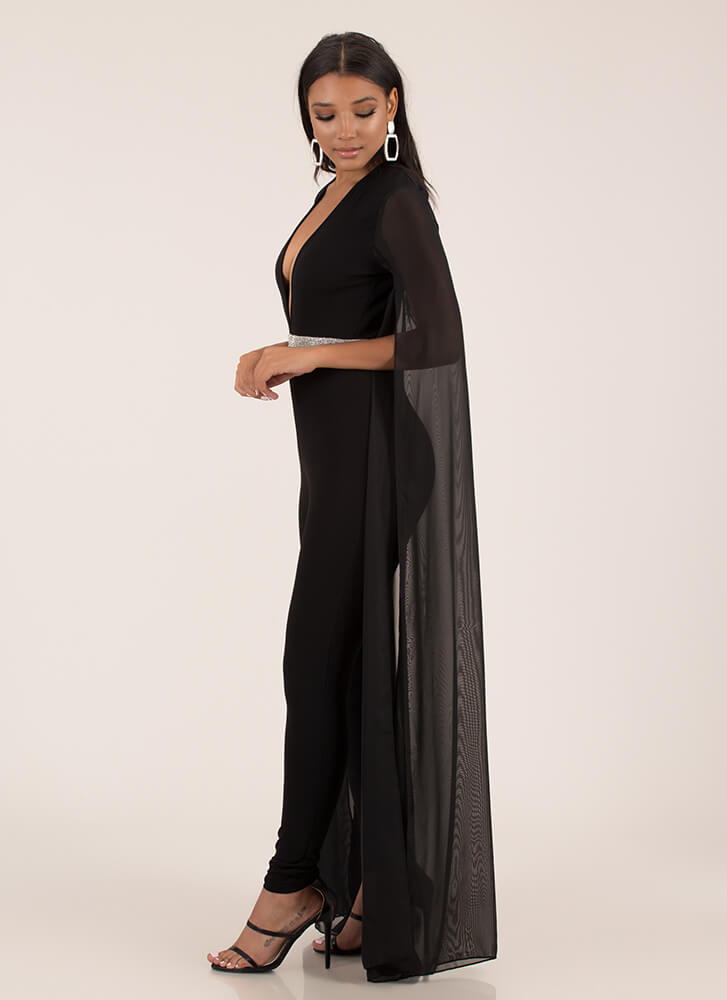 Flow In Style Plunging Winged Jumpsuit BLACK
