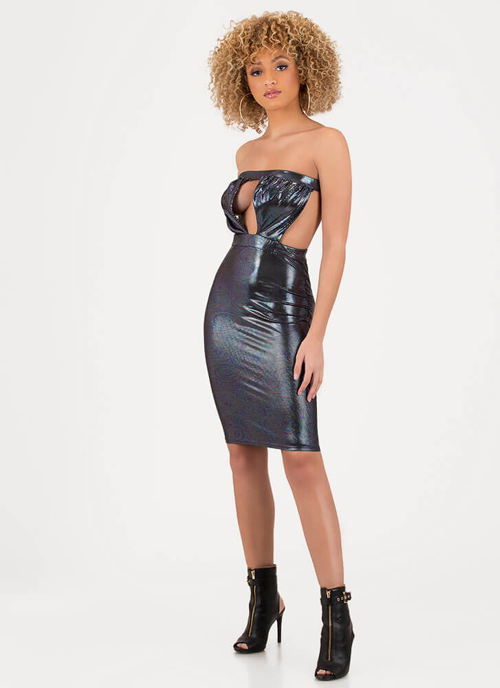 Save Tonight Strapless Cut-Out Dress BLACK
