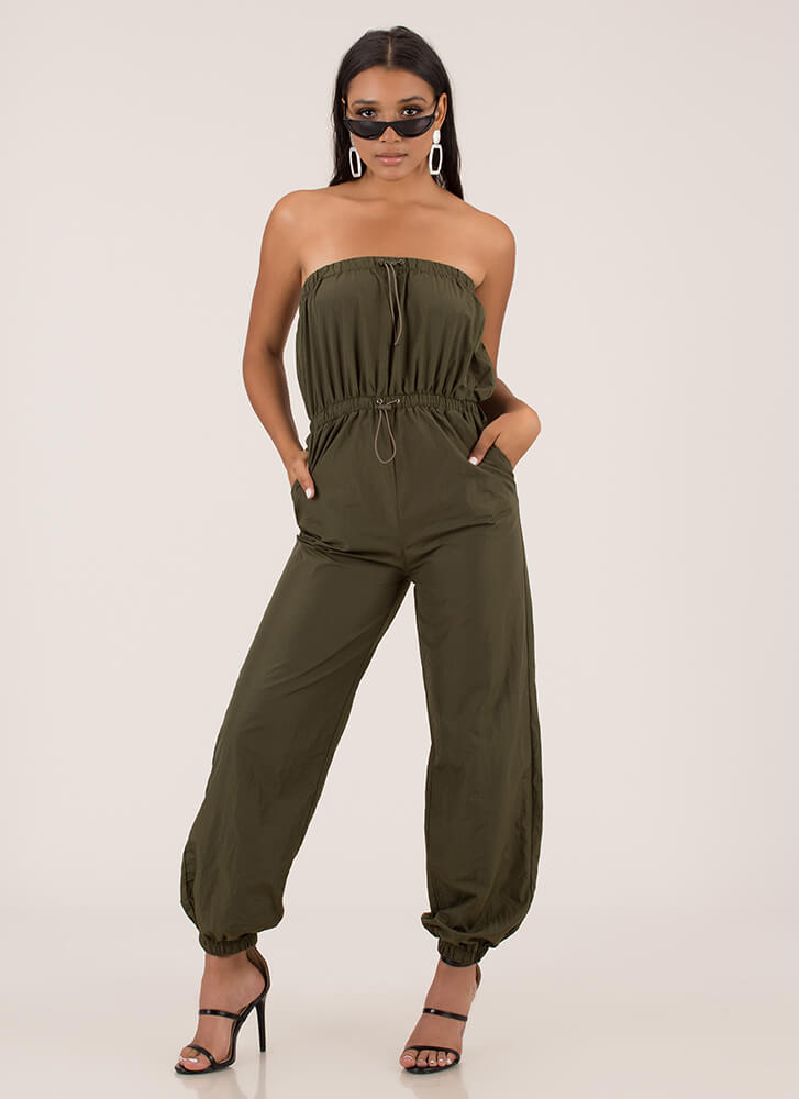 Takeoff Strapless Jogger Jumpsuit OLIVE