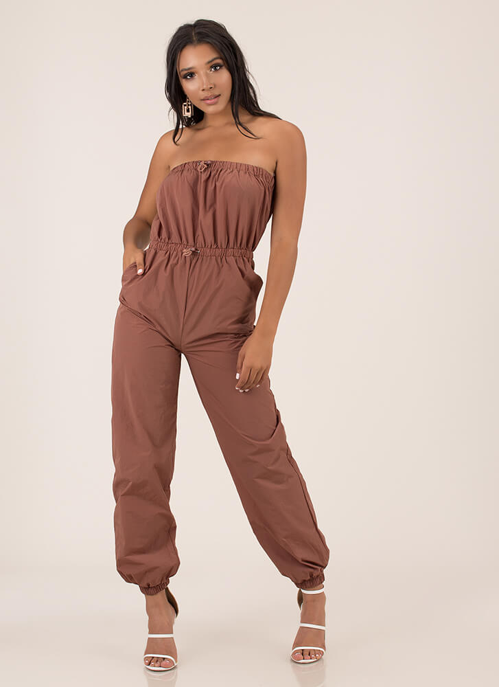 Takeoff Strapless Jogger Jumpsuit REDBROWN
