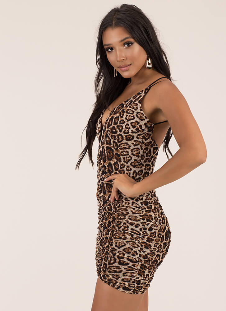 Wild And Out Strappy Leopard Minidress LEOPARD