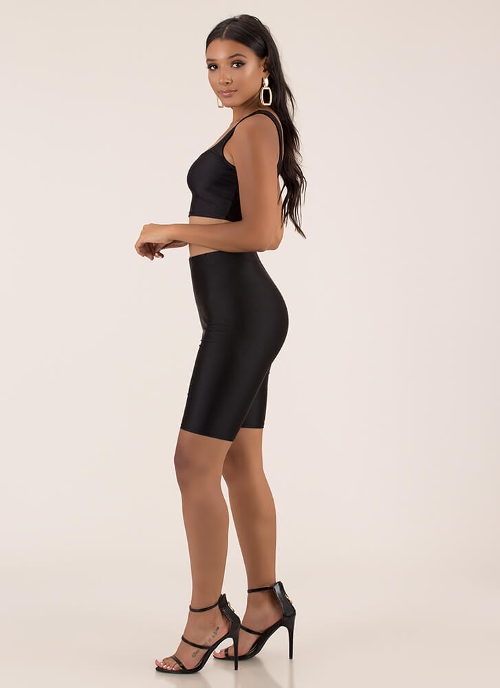 Work It Nylon Top And Shorts Set BLACK