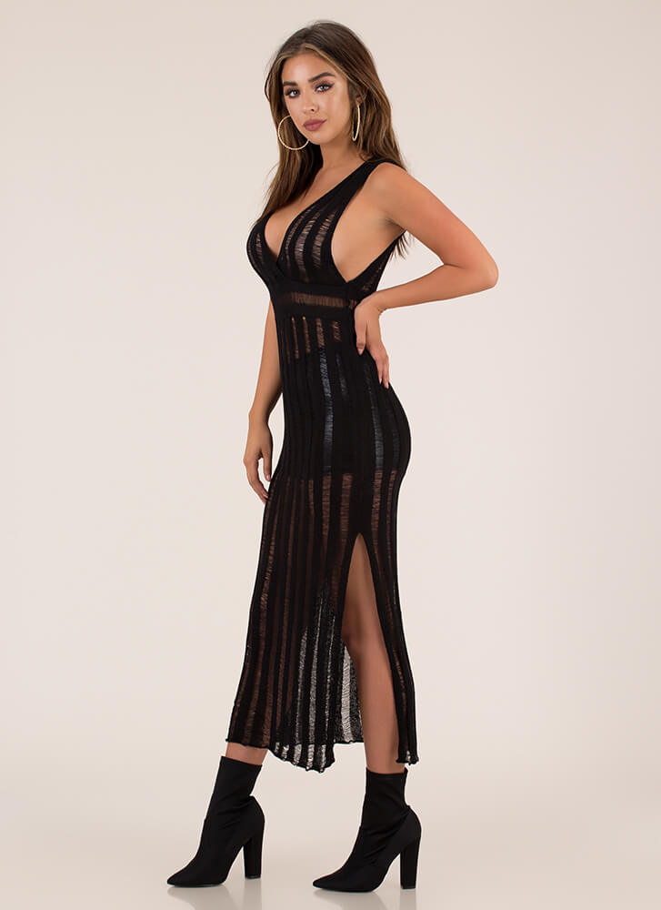 Knits For Your Own Good Striped Maxi BLACK