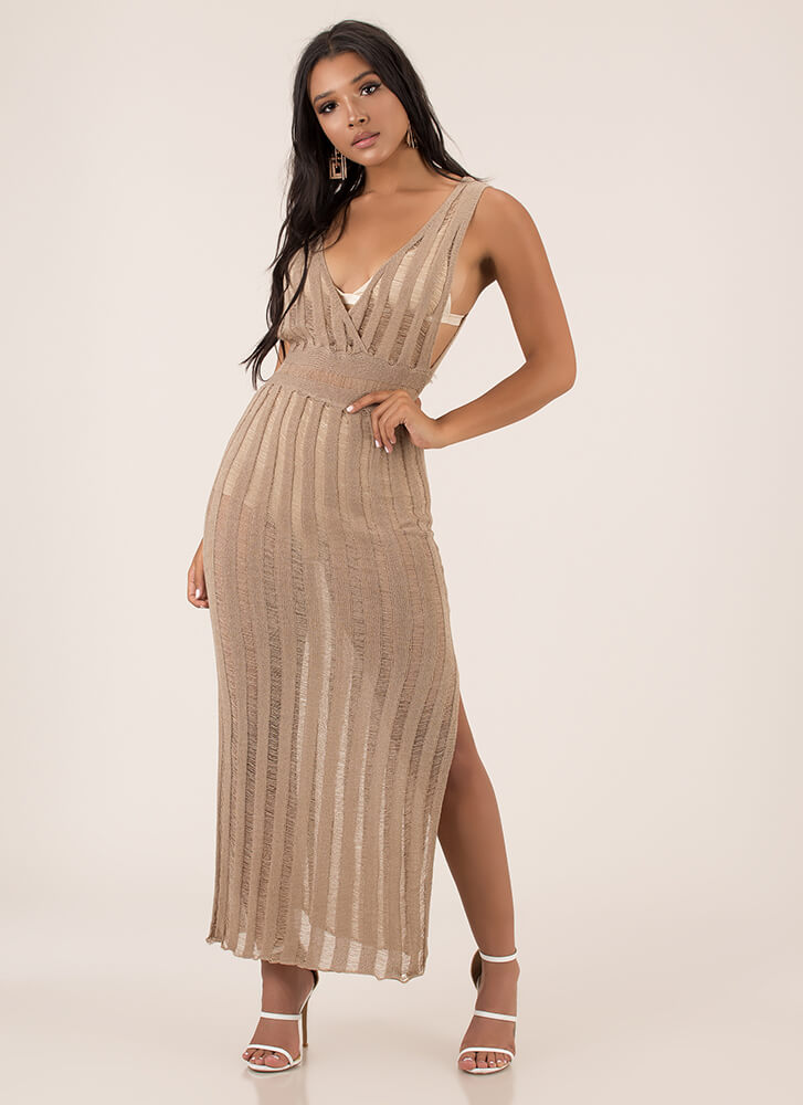 Knits For Your Own Good Striped Maxi TAUPE