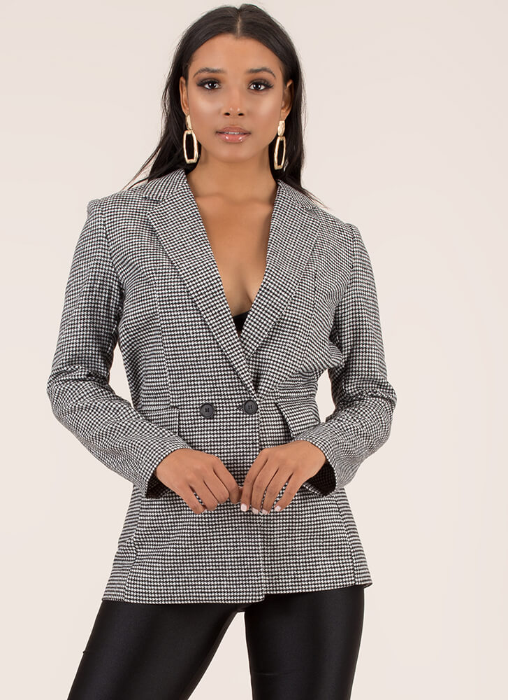 Take Care Of Business Houndstooth Blazer BLACK